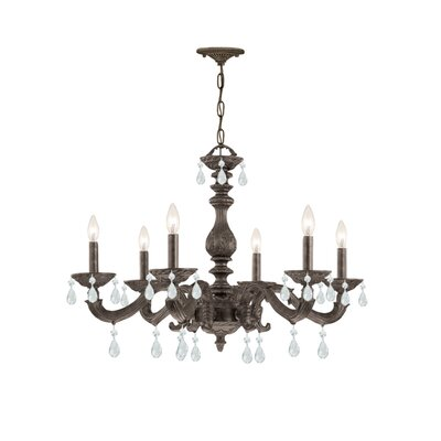 Odessa 6-Light Crystal Chandelier Crystal Type: Hand Polished, Finish: Antique White