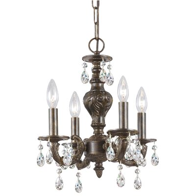 Odessa 4-Light Candle Chandelier Crystal: Majestic Wood Polish, Finish: Antique White