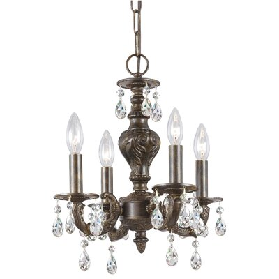 Odessa 4-Light Candle Chandelier Crystal: Swarovski Spectra, Finish: Ventian Bronze