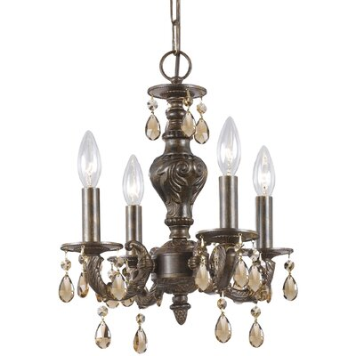 Odessa 4-Light Candle Chandelier Crystal: Golden Teak Majestic Wood Polish, Finish: Ventian Bronze
