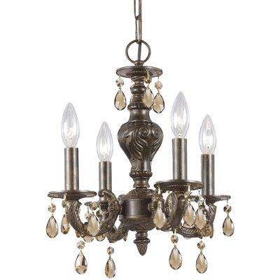 Odessa 4-Light Candle Chandelier Crystal: Golden Teak Majestic Wood Polish, Finish: Ventian Bronze