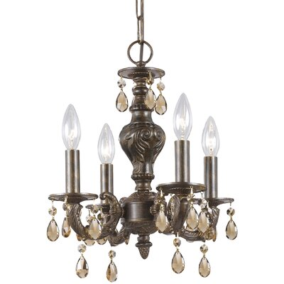 Odessa 4-Light Candle Chandelier Crystal: Golden Teak Swarovski Strass, Finish: Ventian Bronze