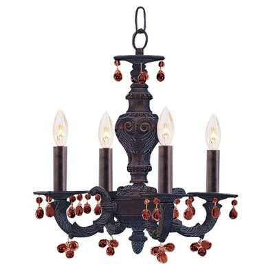 Odessa 4-Light Candle Chandelier Crystal Color: Amber