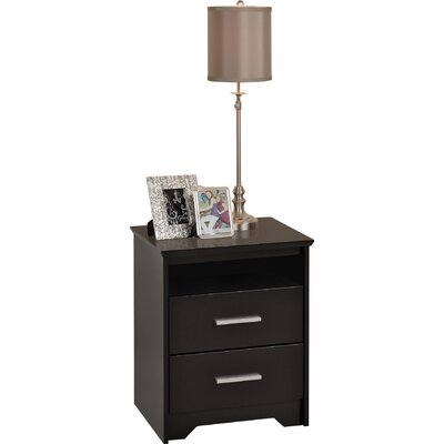 Travon 2 Drawer Nightstand Finish: Black