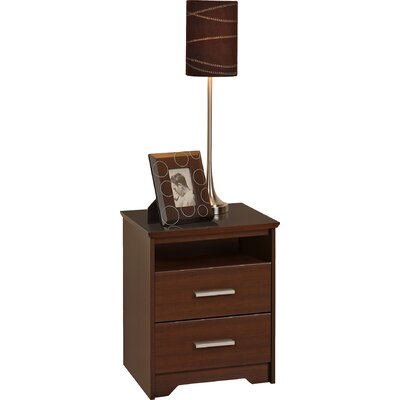 Travon 2 Drawer Nightstand Finish: Espresso