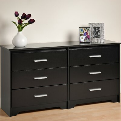 Oleanna 6 Drawer Wood Double Dresser Color: Black