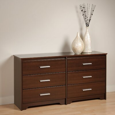Oleanna 6 Drawer Wood Double Dresser Color: Espresso