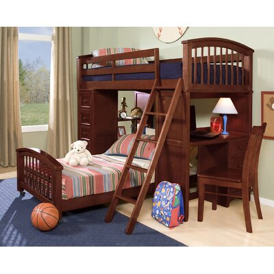 Javin Student Loft Lower Bed with Mattress Finish: Cherry