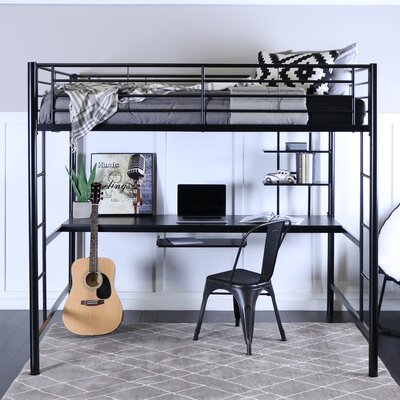 Maurice Full Loft Bed with Workstation Finish: Black