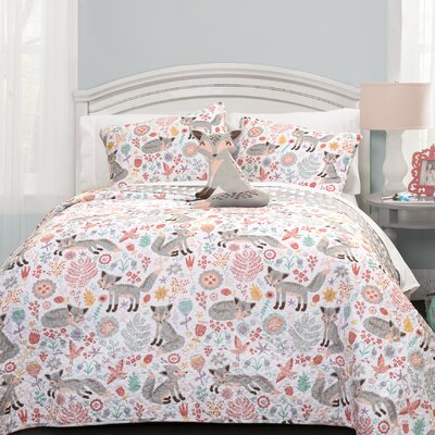 Miley Fox Reversible Quilt Set Size: Twin, Color: Gray/Pink