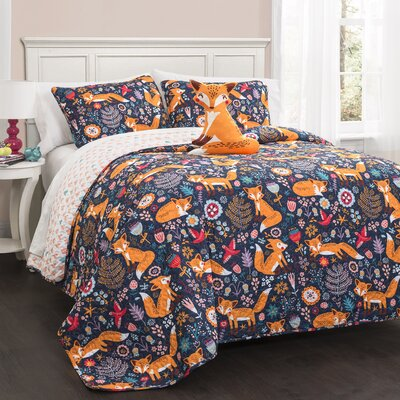 Miley Fox Reversible Quilt Set Size: Twin, Color: Navy