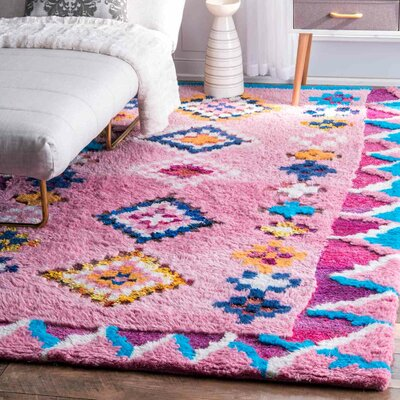 Asher Hand-Tufted Pink Area Rug Rug Size: Rectangle 5 x 8