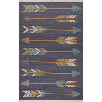 Allegra Dark Gray/Yellow Area Rug Rug Size: Rectangle 8 x 11