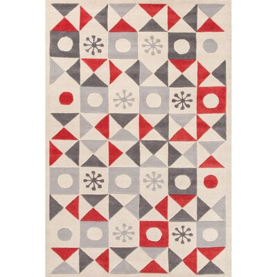 Keiko Hand-Tufted Ivory/Red Area Rug Rug Size: Rectangle 2 x 3