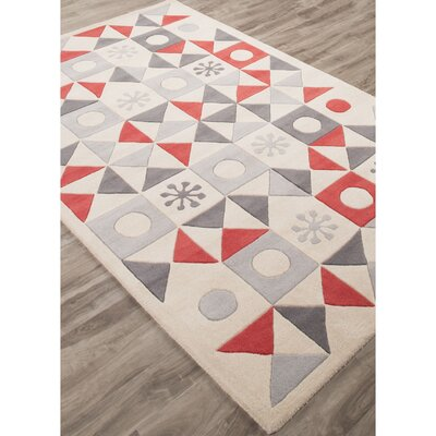Keiko Hand-Tufted Ivory/Red Area Rug Rug Size: Rectangle 4 x 6