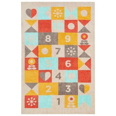Annie Beige/Red Area Rug Rug Size: 5 x 76