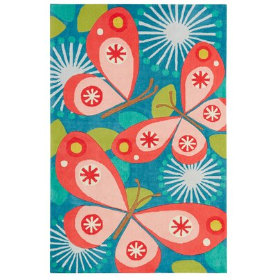 Annie Hand-Tufted Blue/Pink Area Rug Rug Size: 2 x 3