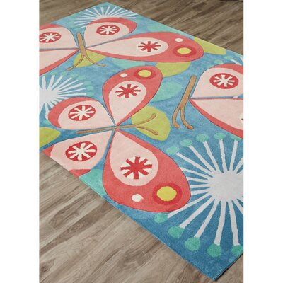 Annie Hand-Tufted Blue/Pink Area Rug Rug Size: Rectangle 76 x 96