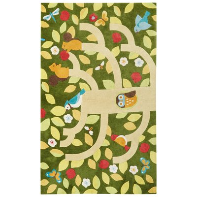 Annie Hand-Tufted Green/Yellow Area Rug Rug Size: 76 x 96
