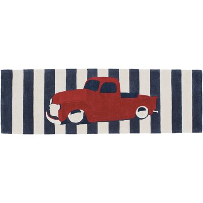 Cherish Navy/Red Stripe Area Rug Rug Size: Runner 26 x 8