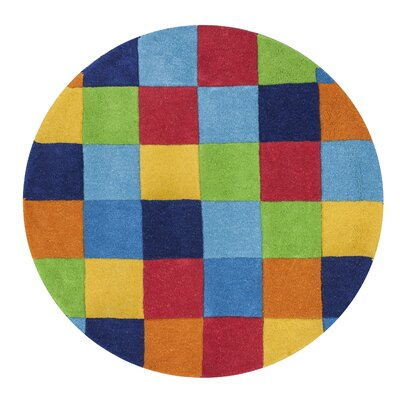 Shari Boys Blocks Blue Area Rug Rug Size: Round 3