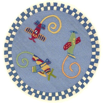 Shari Flying Fun Blue Area Rug Rug Size: Round 3