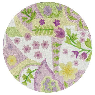 Shari Princess Dreams Pink/Green Area Rug Rug Size: Round 3