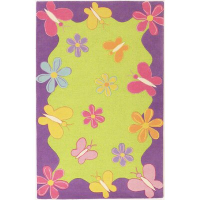 Shari Springtime Fun Green Area Rug Rug Size: 76 x 96