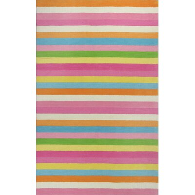 Shari Chic Pink Stripes Area Rug Rug Size: Round 3