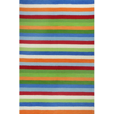 Shari Cool Green & Blue Stripe Area Rug Rug Size: Round 3