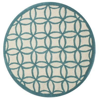 Shari Teal Kaleidoscope Area Rug Rug Size: Round 3