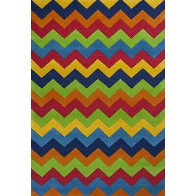 Shari Multi Cool Ziggy Zaggy Area Rug Rug Size: Rectangle 5 x 76
