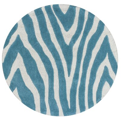 Shari Teal Wild Side Area Rug Rug Size: Round 3