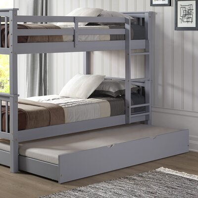 Esmeralda Twin over Twin Bunk Bed with Trundle Color: Gray