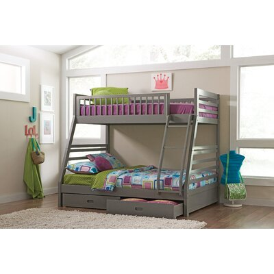 Rafael Twin over Full Bunk Bed with Storage Finish: Gray
