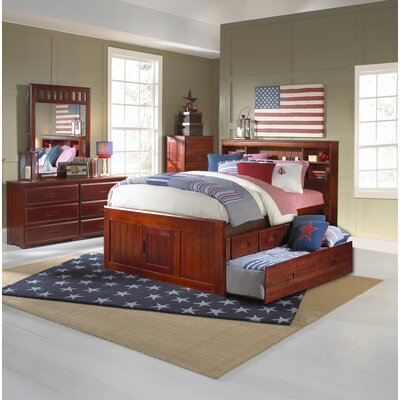 Kaitlyn Captain Twin Storage Bookcase Bed with Trundle Configuration: 3 Drawers + 1 Trundle Unit, Size: Full, Finish: Merlot