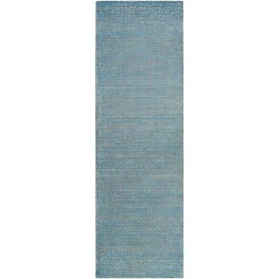 Codey Hand-Loomed Aqua/Khaki Area Rug Rug size: Runner 26 x 8