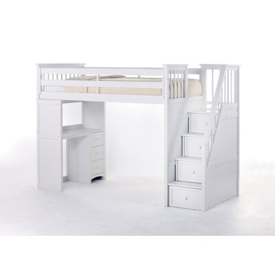 Lyric Stair Loft Bed with Desk End Size: Twin, Finish: White