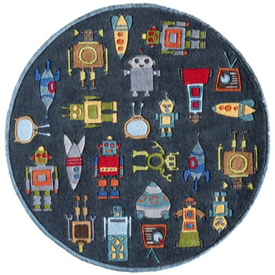 Johnnie Hand-Tufted Steel Kids Rug Rug Size: Round 5