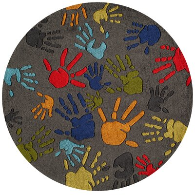 Johnnie Hand-Tufted Gray Kids Rug Rug Size: Round 5