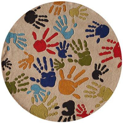 Johnnie Hand-Tufted Beige Kids Rug Rug Size: Round 5