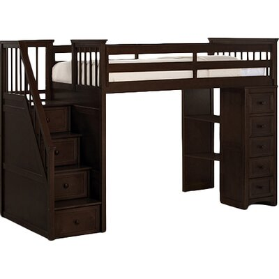 Lyric Traditional Stair Loft with Chest End Finish: Chocolate
