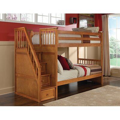 Lyric Twin over Twin Stair Bunk Color: Pecan