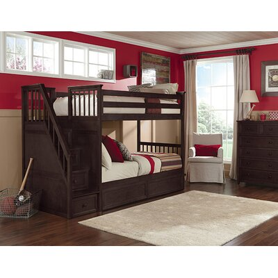 Lyric Twin over Twin Stair Bunk Finish: Chocolate