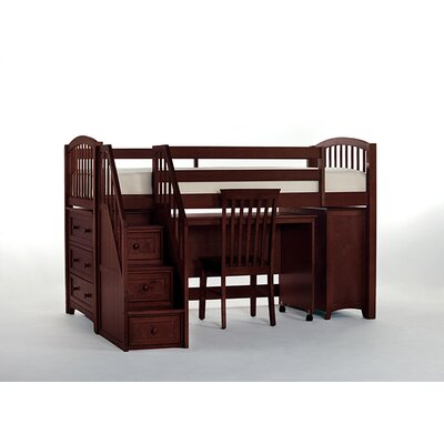 Lyric Store and Study Loft Bed with Stairs Finish: Cherry