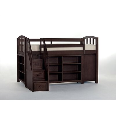 Lyric Store and Study Loft Bed with Stairs Color: Chocolate