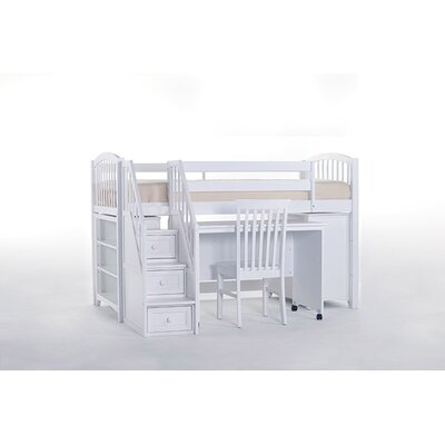 Lyric Store and Study Loft Bed with Stairs Finish: White