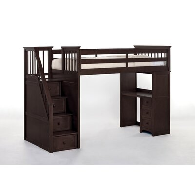 Summer Stair Loft Bed with Desk End Size: Twin, Finish: Chocolate