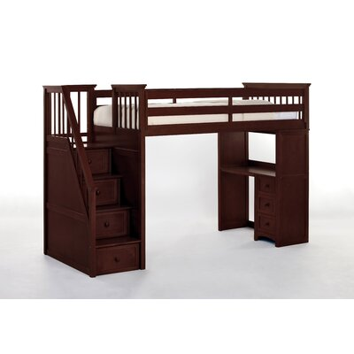Lyric Stair Loft Bed with Desk End Size: Twin, Finish: Cherry