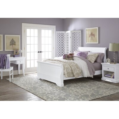 Ayalisse Wood Sleigh Bed Finish: White, Size: Full